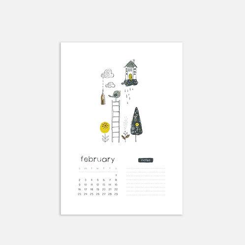 Whimsical Ye. February 2020 Full Sheet Calendar