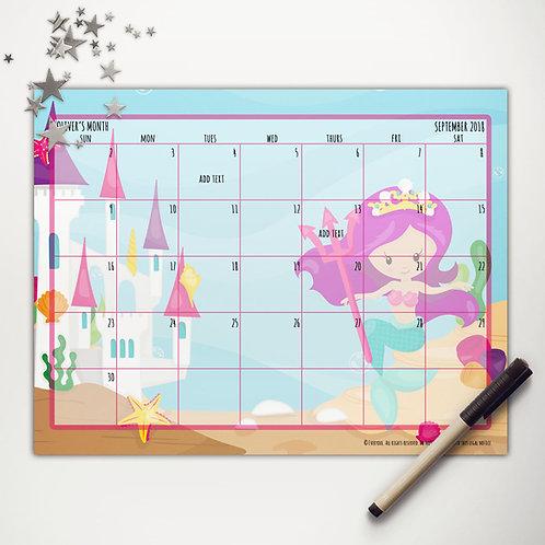 Mermaid Princess Monthly Calendar (light skin)