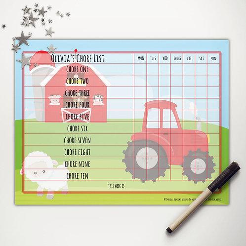 Farmer Tractor Basic Chore Chart