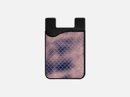 Blush + Navy Cotton Candy Mermaid Scales Card Holder