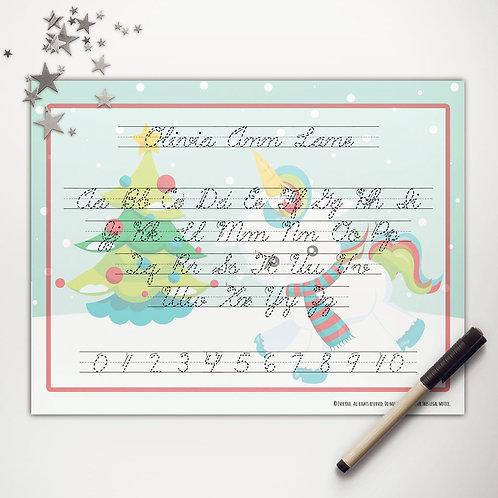Christmas Unicorn Writing Mat (cursive)