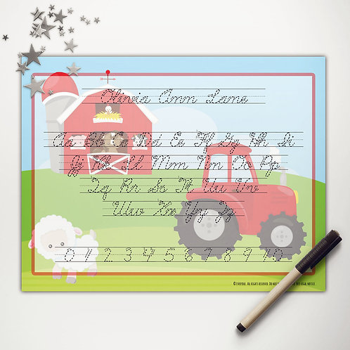 Farmer Tractor Writing Mat (cursive)