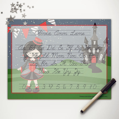 Vampire Girl Writing Mat (cursive)