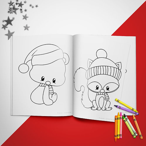Christmas Woodland Friends Coloring Book Pages