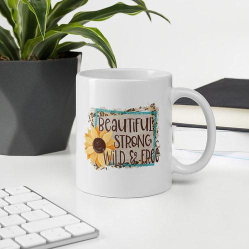 Beautiful Strong Wild & Free Leopard Print Sunflower Ceramic Mug