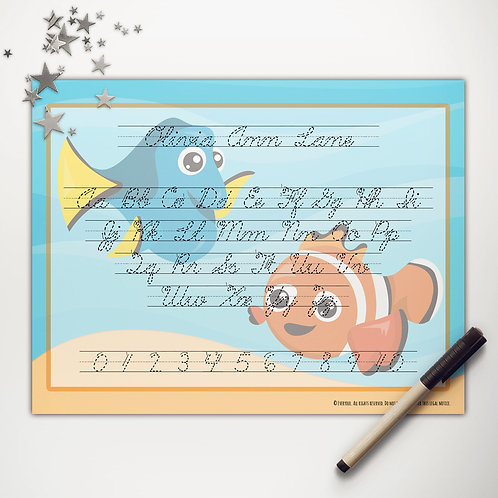 Finding Fish Writing Mat (cursive)