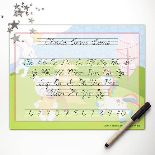 Dreamy Unicorn + Friends Writing Mat (cursive)
