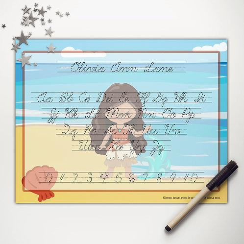 Beach Princess Writing Mat (cursive)