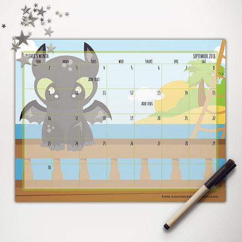 Toothless Dragon Monthly Calendar