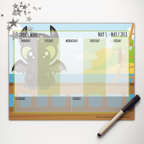 Toothless Dragon Weekly Calendar