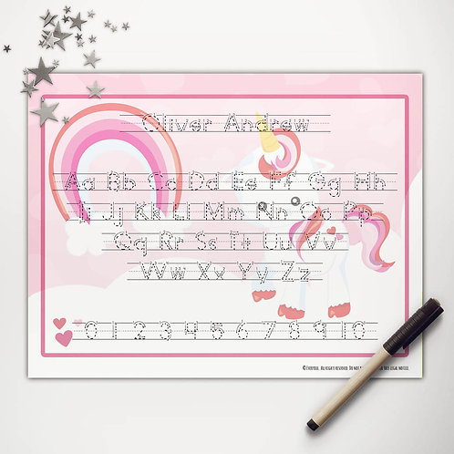 Valentine Unicorn Writing Mat (print)