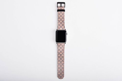 Blush + Navy Foiled Mermaid Scales Designer Apple Watch Band
