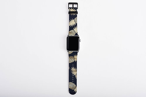 Navy + Gold Pineapple Designer Apple Watch Band