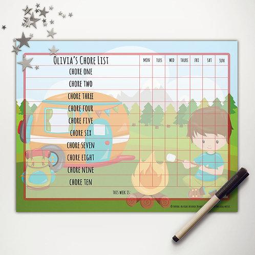 Camper Camping Boy Basic Chore Chart (custom character)