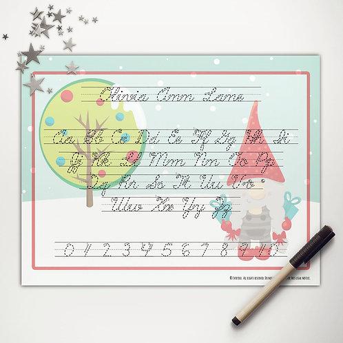Christmas Gnome Writing Mat (cursive)
