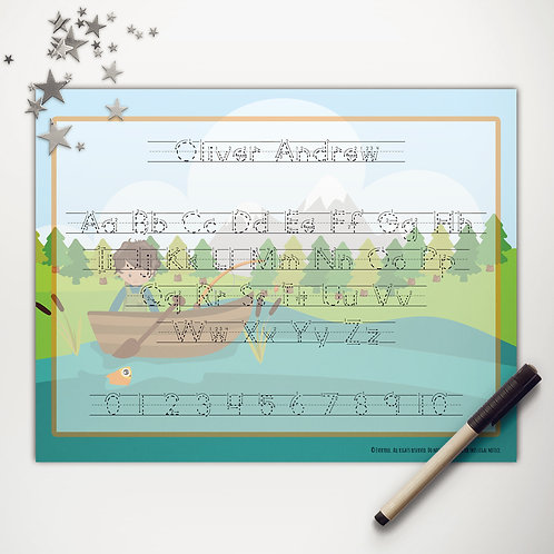 Goin' Fishin' Boy Writing Mat (custom character | print)