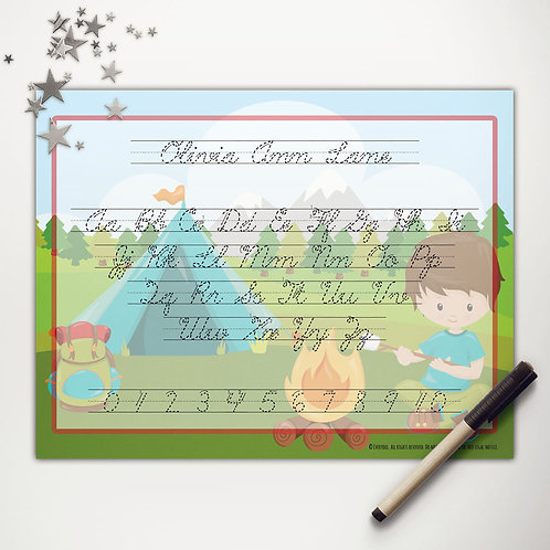Tent Camping Boy Writing Mat (custom character | cursive)