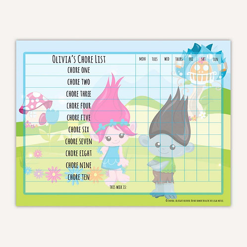 Bright Troll Fun Basic Chore Chart