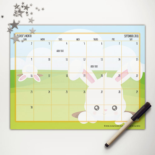Easter Bunny Surprise Monthly Calendar