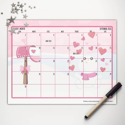 Valentine Snowman Monthly Calendar