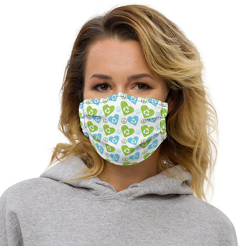 Earth Day Peace + Recycle Hearts Premium Face Cover with Pocket