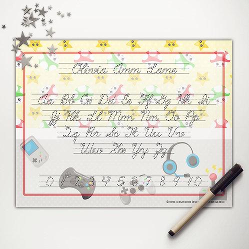 Little Gamer Writing Mat (cursive)