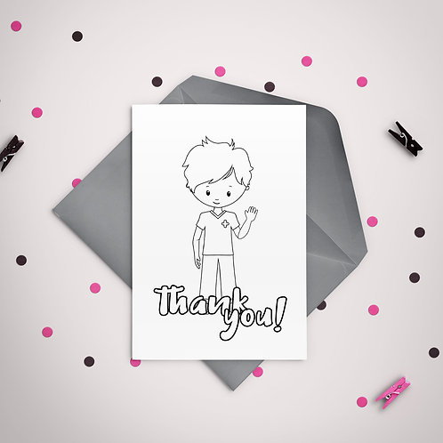 Color It Thank You Nurse Boy Printable Greeting Card