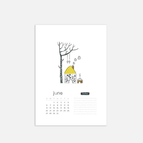 Whimsical Ye.06 Monthly Full Sheet Calendar