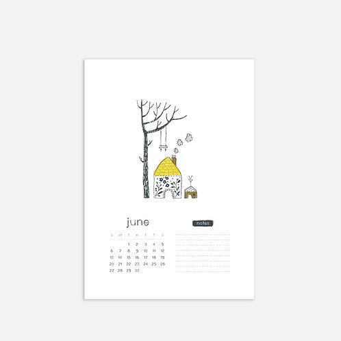 Whimsical Ye. June 2021 Monthly Full Sheet Calendar