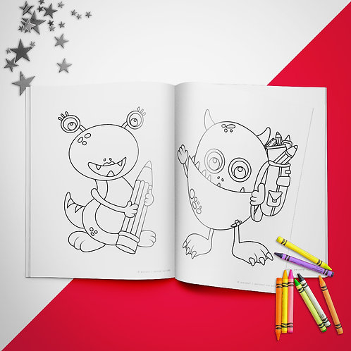 School Monsters Coloring Book Pages