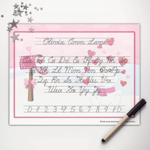Valentine Snowman Writing Mat (cursive)