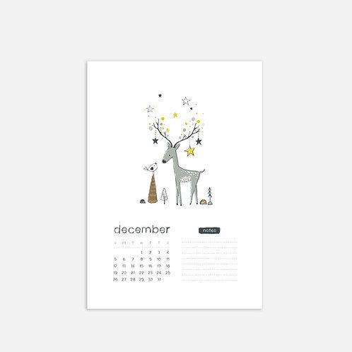 Whimsical Ye.12 Monthly Full Sheet Calendar