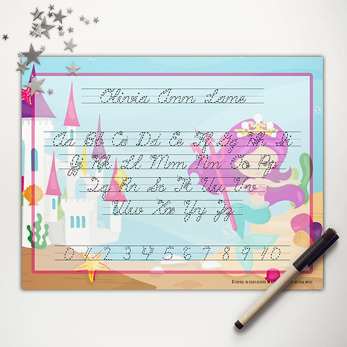 Mermaid Princess Writing Mat (light skin | cursive)