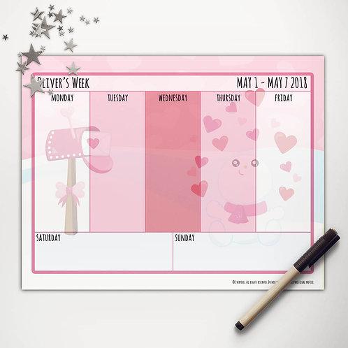 Valentine Snowman Weekly Calendar