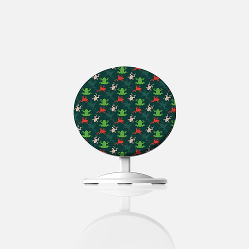 Floral Frogs Dark Designer Wireless Charger