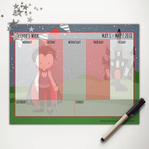 Vampire Boy Weekly Calendar