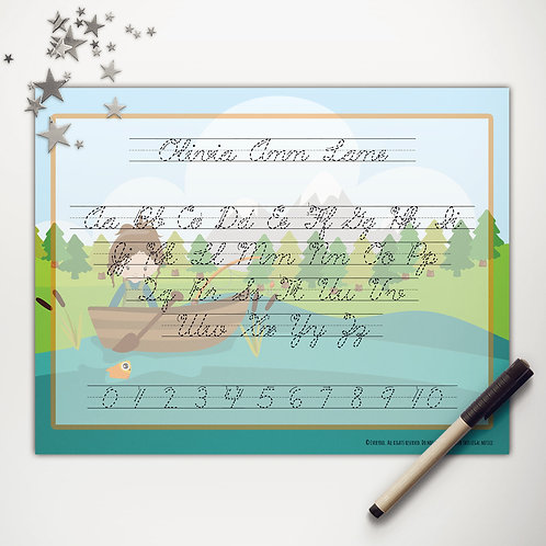 Goin' Fishin' Girl Writing Mat (custom character | cursive)