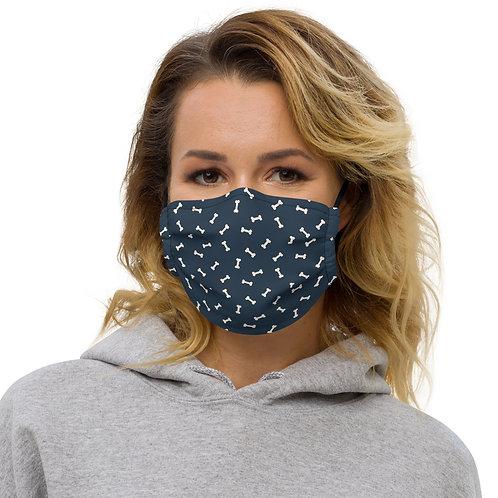 Navy + Blush Dog Bones Premium Face Cover with Pocket