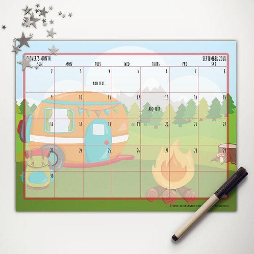 Camper Camping Monthly Calendar
