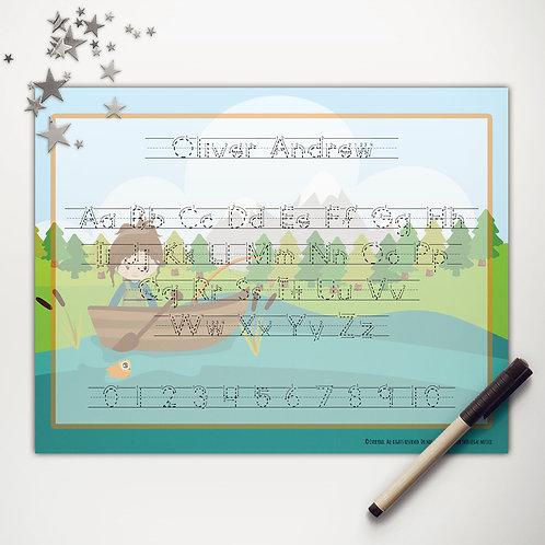 Goin' Fishin' Girl Writing Mat (custom character | print)
