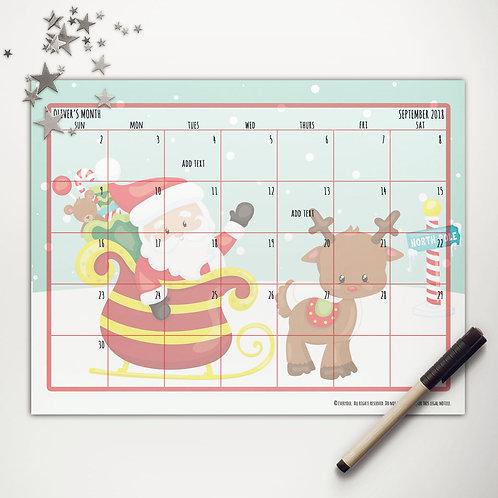 Santa + Rudolph Monthly Calendar (light skin)