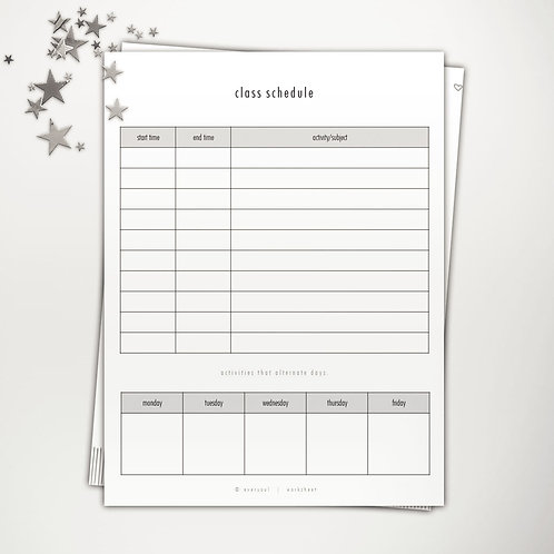 Class Schedule Two PowerPoint Template
