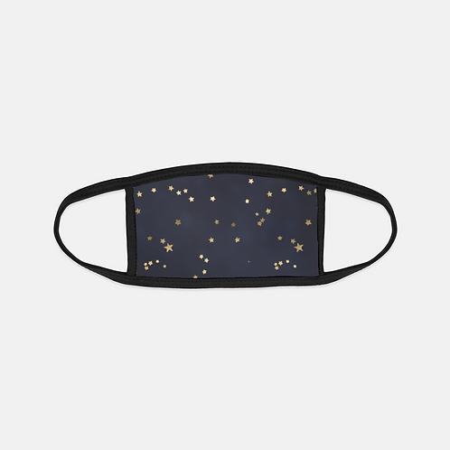 Navy + Gold Stars Black Edge Face Cover