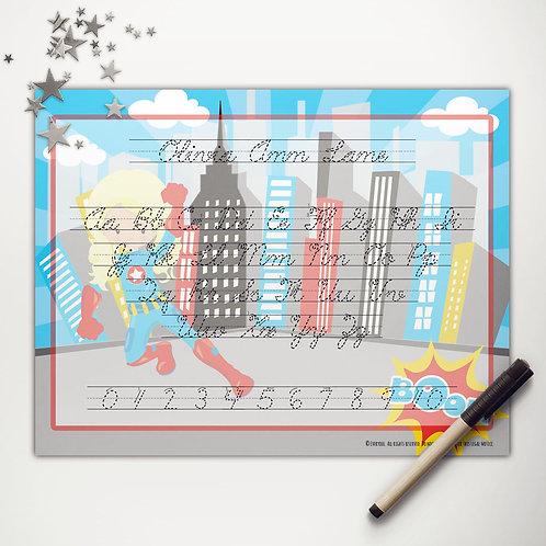 Captain Hero Girl Writing Mat (light skin | cursive)