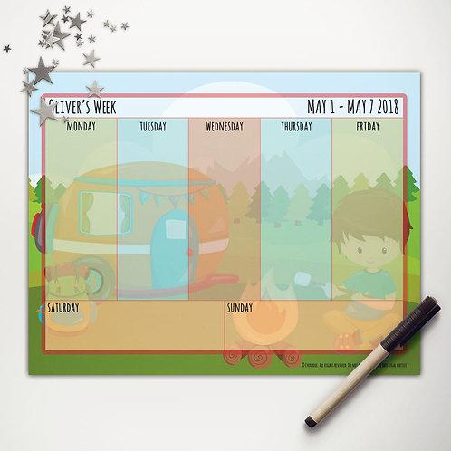 Camper Camping Boy Weekly Calendar (custom character)