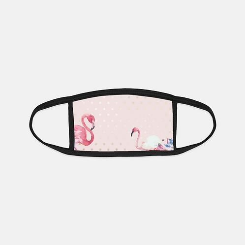 Blush + Gold Polk-a-Dots Flamingo Black Edge Face Cover