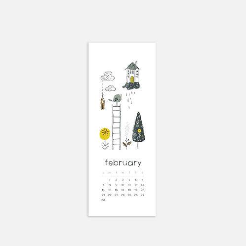 Whimsical Ye. February 2021 Half Sheet Calendar