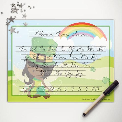 Good Luck Fairy Writing Mat (dark skin | cursive)