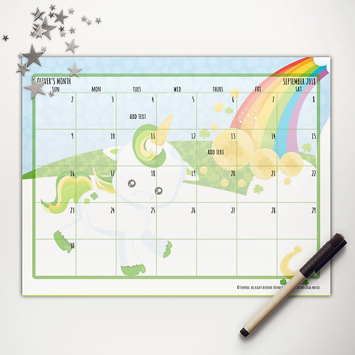 Good Luck Unicorn Monthly Calendar