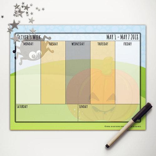 Pumpkin + Spider Weekly Calendar
